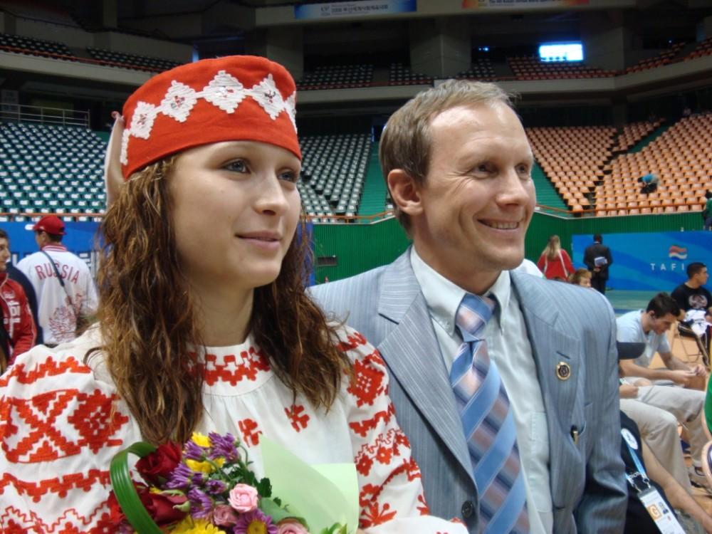 Корея 2008 Алла и тренер