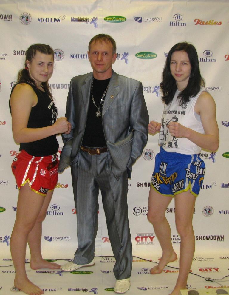 Маша и Настя с тренером